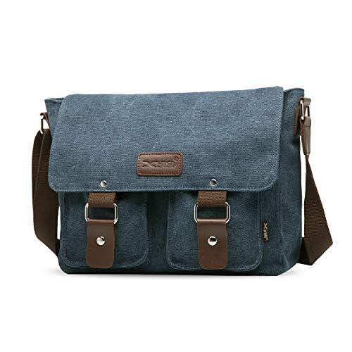 FANDARE Vintage Crossbody Bag Unisex Canvas Messenger Bag 7.9 inch iPad Satchel Bag Travel Shoulder Bag Working Bag Bookbag Briefcase for Men and Women Blue