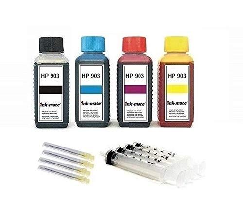 Tintenpatronen Nachfüll-Set - 4 x 100 ml Premium Nachfüll-Tinte für HP 903 (XL) black, cyan, magenta, yellow (T6M15AE T6L99AE HP T6M03AE T6L87AE T6M07AE T6L91AE T6M11AE T6L95AE) - NSIH9034