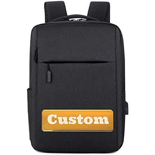 FireH Zaino per il nome personalizzato 15.6 Borsa per laptop da gioco Uomo Backpack del computer di moda (Color : Black, Size : One size)