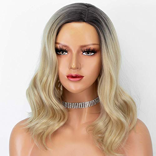 Persephone Ombre Blonde Bob Wig Glueless Short Wavy Wigs for Women 2 Tones Synthetic Wig with Dark Roots Heat Resistant