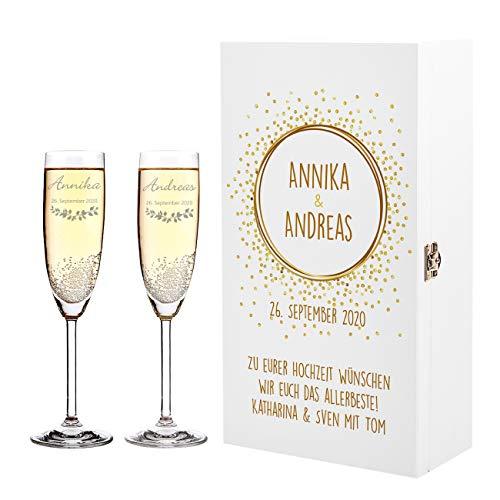 Herz & Heim® 2 Leonardo Sektgläser zur Hochzeit mit Gravur in weißer Holz-Geschenkbox - ideales Hochzeitsgeschenk Golden