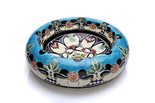 La Reina - Keramisches buntes Waschbecken in Türkis, Mexikanische Rund Aufsatzwaschbecken | 40 cm Keramik Talavera Waschbecken aus Mexiko