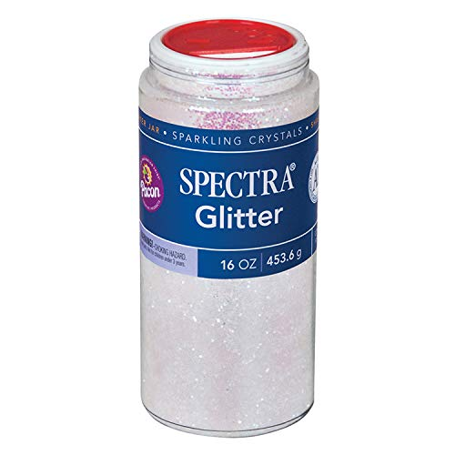Pacon P0091390 Spectra Glitter Sparkling Crystals, Iridescent, 16-Ounce Jar