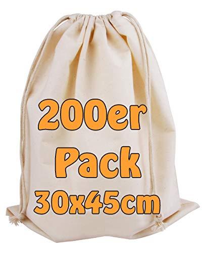 Cottonbagjoe | Baumwollbeutel | Stoffbeutel | mit Kordelzug | 30 x 45 cm | Zero Waste | Gemüsebeutel Lunchsack Kosmetikbeutel Sockenbeutel | Spielzeugsack | Schuebeutel