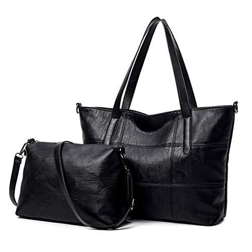 Vinteen Bolsa de Viaje Femenino MS Versión Coreana Salvaje Bolsas de Hombro Bolso de Alta Capacidad Tide Soft Skin Bag Bag Bolsa Crossbody (Color : Negro)