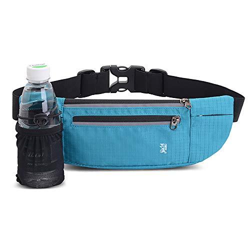 Peicees Fanny Pack with Water Bottle Holder Waist Bag for Men Women Water Resistant Lightweight Reflective Adjustable Running Belt Headphone Bag Travel Pocket for Outdoor Camping Fitness Hiking