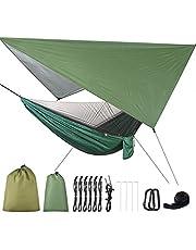 BMBN 2 in 1 Lichtgewicht Draagbare Outdoor Camping Hangmat Klamboe Hangmat Tent Met Waterdichte Luifel Luifel Netting Set