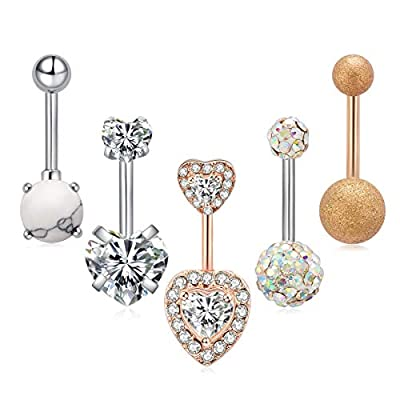 Ldurian 5pcs per Set Stainless Surgical Steel Belly Button Rings Navel Rings Barbells Studs with CZ/Marble Stone/Love Heart 14G Body Piercing Jewelry for Women Girls Silver Rose Gold