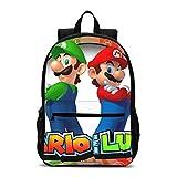 FENGHE Bolso de Mario Super Mario Cute Bookbags Set con lonchera Niños Mochilas Escolares Mochila Adolescente Niños Niñas Kit Mochila Escolar Infantil