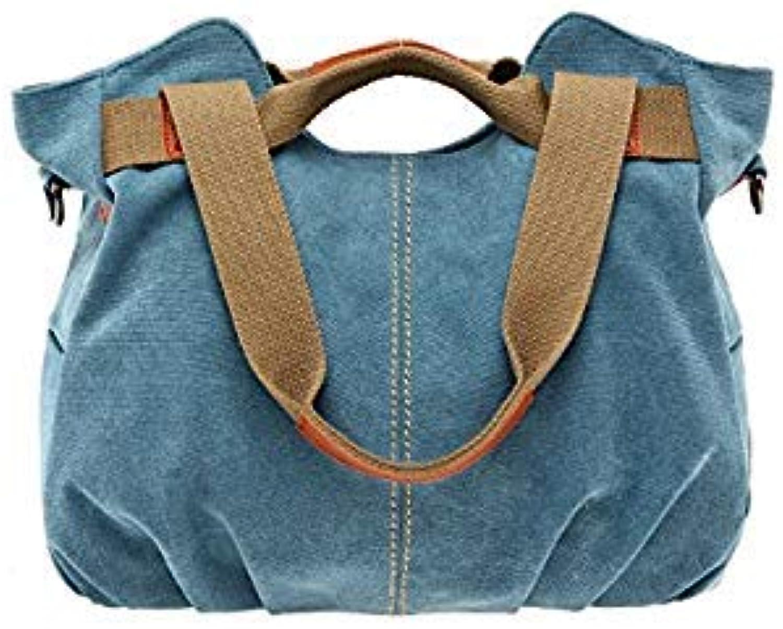Bloomerang Large Capacity Women's Canvas Handbag Casual Shoulder Bags Vintage Crossbody Messenger Bags Female Shopping Tote Bags XA1844C color blueee