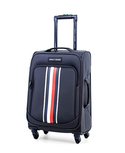 Tommy Hilfiger Global Pop Softside Expandable Spinner Luggage, Blue, 20 Inch