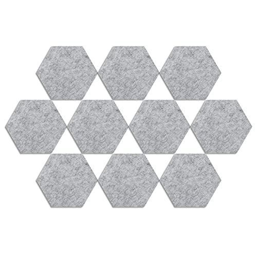 N //A 20 pizarras hexagonales de fieltro para tablones de anuncios autoadhesivos, color negro, con 20 alfileres, decoración para la pared del salón de clases (gris)