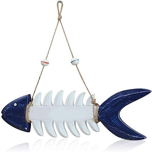 WQF Escultura de Arte de Pared de pez, decoración de Placa de Pared de pez Colgante, decoración rústica de la Puerta Principal de la casa, Adorno de Pared de Signo de Bienvenida de Hueso de pez