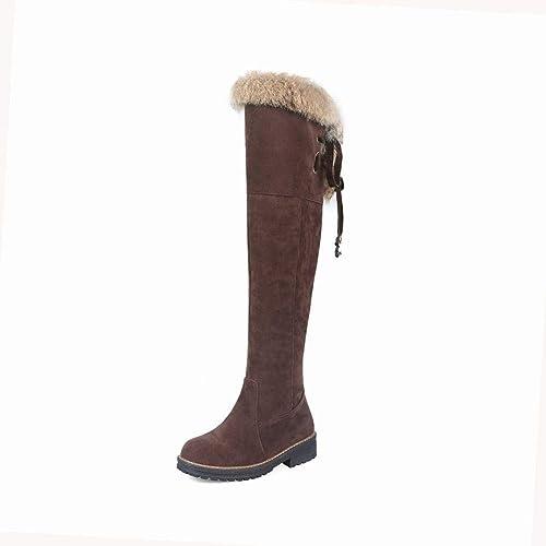 ZHRUI Stiefel para damen - Damas de Invierno y Terciopelo Stiefel de Forro Polar cálido Stiefel de tacón bajo Stiefel para damen Elegante 34-43 (Farbe   braun, tamaño   38)