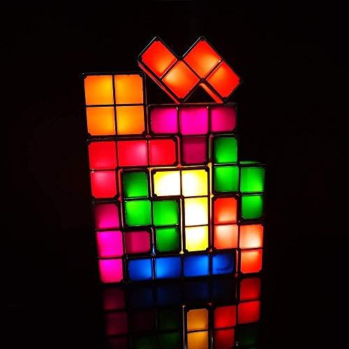 LONGJUAN-C Las luces de los niños creativo luz de la noche de bricolaje Tetris Puzzle luz LED lámpara de escritorio apilable Urbanizable Bloque Juego retro Torre del bebé colorido juguete del ladrillo