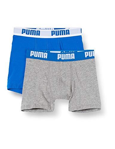 Puma Jungen Boys Basic Boxer 2P Boxershorts, Mehrfarbig (Blue/Grey 417), (Herstellergröÿe. 176) (2Er Pack)