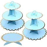 3 Unidades Soporte para Cupcakes Azul de 3 Niveles y 1 Pisos Soporte Tarta, Postre Soporte de Magdalenas de Redondo para Cumpleaños, Fiesta, Baby Showers