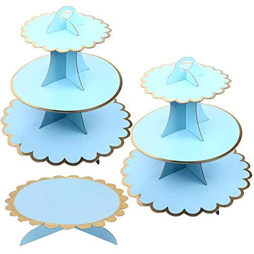 JINLE 3 Pezzi Alzata per Cupcake in Cartone Blu,Torre per Dessert a 3 Piani e 1Tier Cake Stand per Festa di Compleanno, Matrimonio, Baby Show