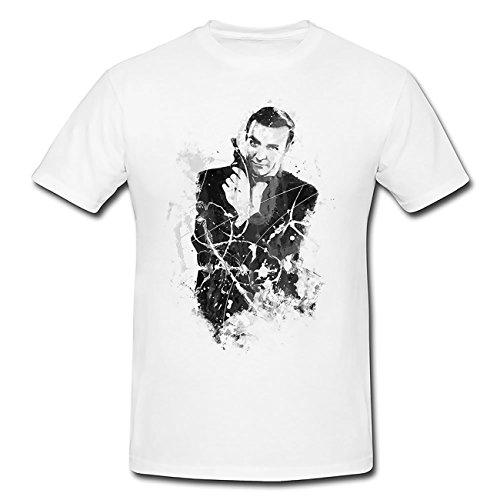 Sean Connery James Bond II Art T-Shirt Herren, weiß mit Aufdruck