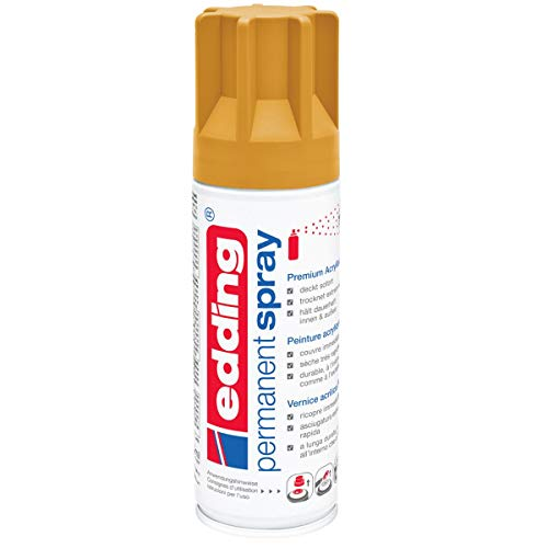 edding 5200 Permanent-Spray - leuchtend bernstein matt - 200 ml - Acryllack zum Lackieren und Dekorieren von fast allen Materialien z.B. Glas, Metall, Holz, Keramik, lackierb. Kunststoff - Sprühfarbe