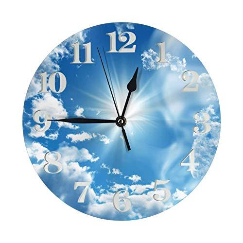 GOSMAO Reloj de Pared Redondo, Cielo Azul con Nubes Blancas, Reloj de decoración del hogar para Sala de Estar, Dormitorio, Oficina
