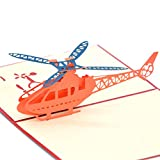 Medigy 3D Pop Up Greeting Cards Helicopter Blank Cards for Most Occastions Blue