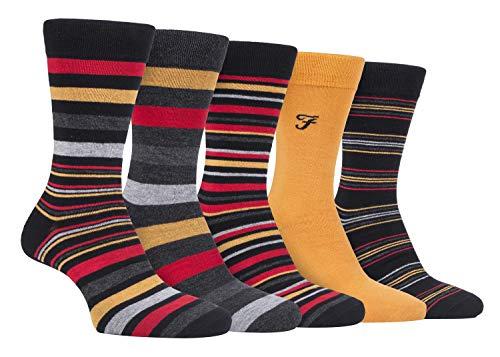 FARAH® - 5er Pack Herren Bambus Socken | Uni Bunt & Gestreift Socken (Schwarz Rot, 39-45)