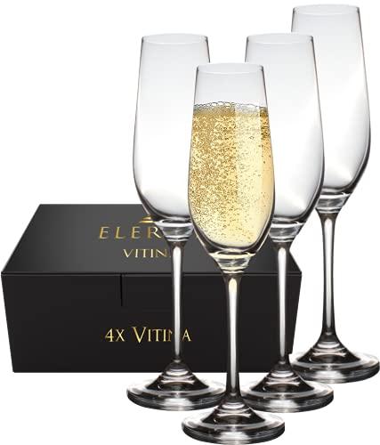 Elerise Vitina Sektgläser Set - 4 Champagnergläser 230 ml aus Kristalglas | Hochwertige Sektkelche von hoher Qualität