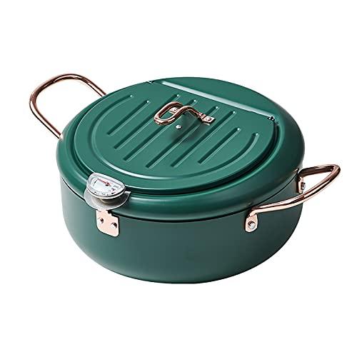 Tevimpeya Freidora Pan de acero inoxidable, temperatura chip de control, con protección de refrigeración, soporte adecuado para la fritura verduras frutas marinas Uso doméstico