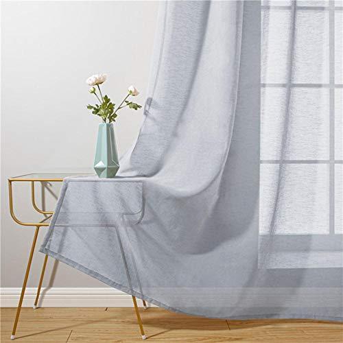 Baumwolle Leinen Tüll Vorhänge für Wohnzimmer Transparente Fenstervorhänge für Schlafzimmer Cafe Einfarbige Cortina Fenster Beige Weiß-Grau, B250XH270cm, Belgien, 5 Pull Plissee Tape