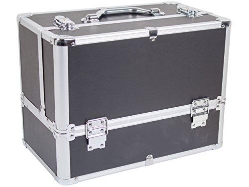 Beauty Koffer BELLEZZA Aluminium schwarz - Kosmetik-Koffer - Friseur-Koffer - Schmink-Koffer - Nageldesign-Koffer