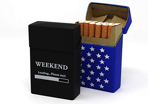 2X Zigarettenbox aus Silikon - Weekend und Sterne dunkelblau - Zigarettenhülle - Zigarettenetui - passend für eine Zigarettenschachtel in Standardgröße - auch passend für die neuen 21er Schachteln
