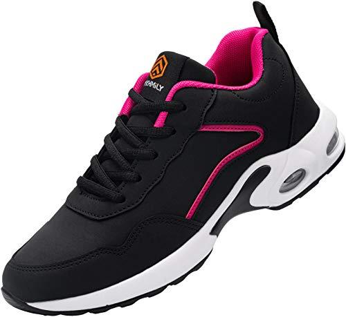 DYKHMILY Zapatillas de Seguridad Mujer Ligero Zapatos de Trabajo con Punta de Acero Comodo Respirable Reflectante Calzado de Seguridad(Negro Rosa,36EU