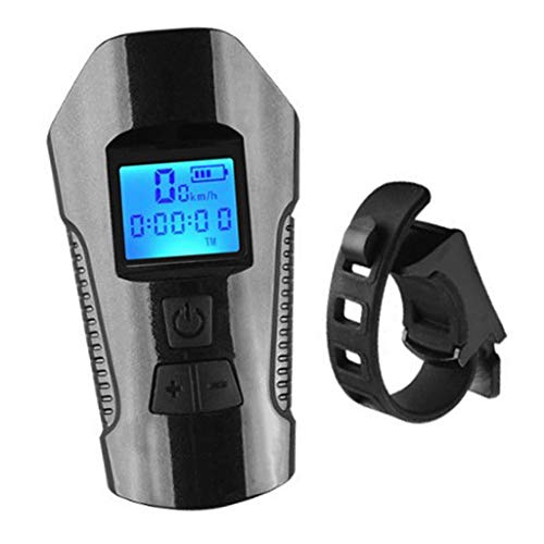 #N/A USB Luz da bicicleta Farol de Bicicleta Recarregável Luz Frontal com Chifre-Farol de Bicicleta Velocímetro Odômetro para o Ciclismo de Segurança, Edição de luxo Preto