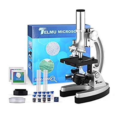 TELMU Microscope for Students 300X-600X-1200X Magnifications Compound Binocular Microscope with Metal Arm, Base and Handy Storage Case(70pcs+ Accessory Set)