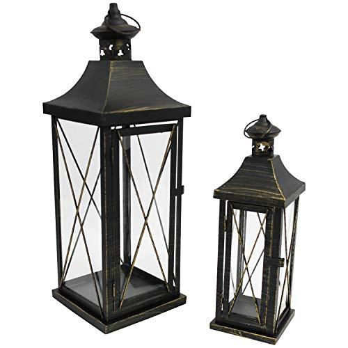 Multistore 2002 2tlg. Laternen-Set H34/50cm, Schwarz/Gold, Laterne Gartenlaterne Kerzenhalter Gartenbeleuchtung Windlicht - 3