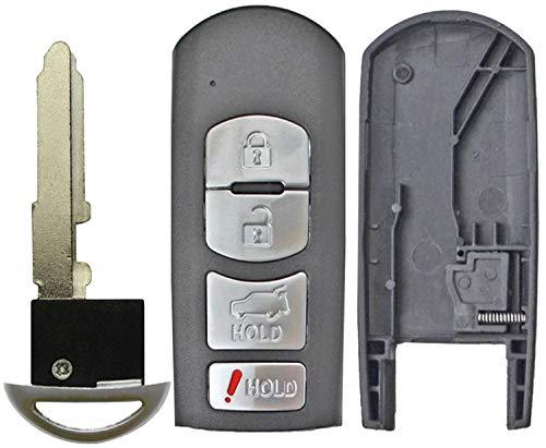 QualityKeylessPlus Replacement Remote Case 4 Button Pad Uncut Insert Key Blade for Mazda Smart Proximity Fob FCC WAZX1T763SKE11A04 WAZSKE13D01 WAZSKE13D02 (1)