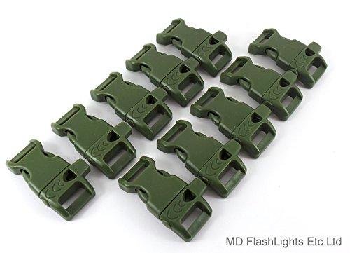 MD FlashLights Etc Ltd Lot de 10 Boucles en paracorde à libération Rapide avec sifflet à Ouverture Rapide Vert armée 13 mm