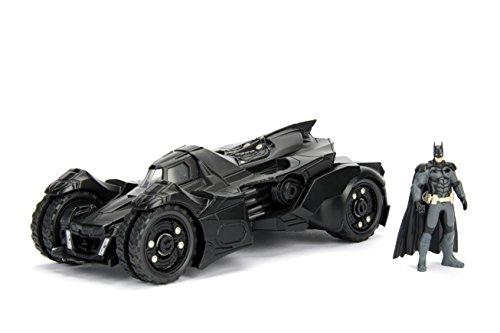 Jada Toys 253215004 Arkham Knight Batmobil, hochdetailiertes 1:24 Modellauto inkl. Batman-Figur, Cockpit und Türen können geöffnet werden, mit Freilauf, schwarz