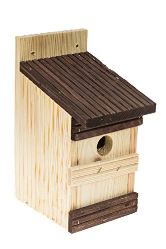 Vogelhaus aus Holz zum Aufhängen Nistkasten Vogelhaus für blaue Vögel Spatzen Rotkehlchen zum Nisten in Ihrem Garten siehe Vogelkasten Set auf Zaun, Nest, Nest (Natur + Rosenholz)