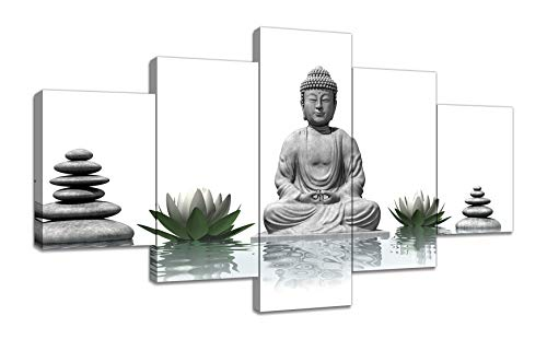 Urttiiyy Buddha with Stone Zen Canvas Wall Art Paintings HD Prints Home Decor 5 Panels Modern Buddha Statue Zen Picture Poster Canvas Contemporary Zen Artwork for Living Room Framed Ready to Hang
