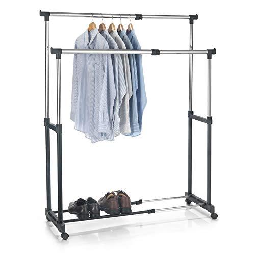 CARO-Möbel Garderobenwagen Rollgarderobe Kleiderständer Garderobenständer Rollkleiderständer CASA in schwarz, 2 Kleiderstangen, Metallgestell verchromt, höhen- und breitenverstellbar