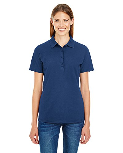 Hanes Womens X-TEMP Fresh IQ Pique Polo Shirt, Navy, XXX-Large