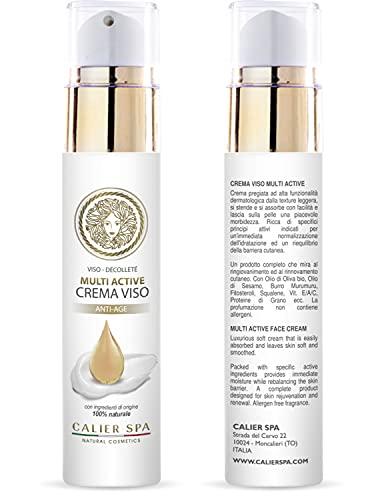 Crema viso Antirughe Donna BIO Idratante e Nutriente con Acido Ialuronico Squalene Vegetale Fitosteroli e vit. A C E Certificata MADE IN ITALY (50ml)