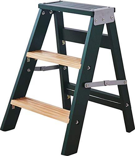 POLTE(ポルテ) 【ステップラダー 踏み台】 ダークグリーン 深緑 天然木 3段 折りたたみ ステップ台 スツール 脚立 椅子