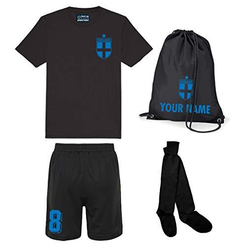 Print Me A Shirt Kit del Equipo de Inglaterra Personalizable para Ninos con Camiseta de Futbol, Pantalones Corto, Calcetines y Bolsa (Negro Azabache con Pantalones Cortos Negro Azabache)