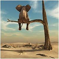 象は木の枝に座る現代アートキャンバスポスターとプリントシュルレアリスムアート絵画面白いアート動物写真フレームなし60x60cm