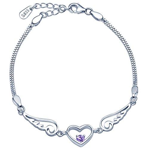 Infinite U - Pulsera de plata de ley 925 alas de ángel y corazón para mujer - Circonita morada - Dobles cadenas con extensión