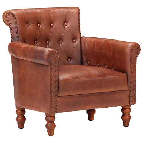 vidaXL Sessel Vintage-Charme Loungesessel Relaxsessel Polstersessel Ledersessel Armsessel Sofa Wohnzimmer Braun Echtes Ziegenleder