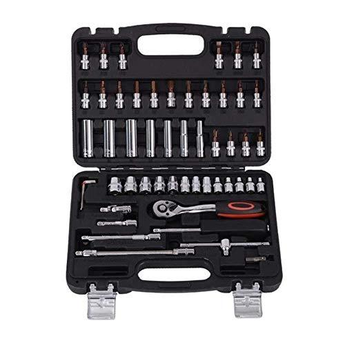 Herramientas de mano 53pcs 1/4' Reparación del zócalo del trinquete de coches Caja de herramienta de precisión de la manga de la junta universal Hardware Kit Reparación automática de Mano Juego de lla